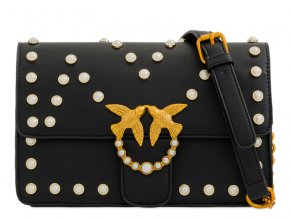 Elegantná čierna kabelka s perličkami
