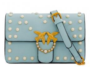 Elegantná svetlo modrá kabelka s perličkami