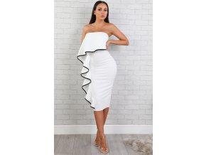 Biele koktejlové šaty s čiernym lemom