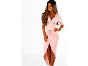 Telovo ružové asymetrické šaty