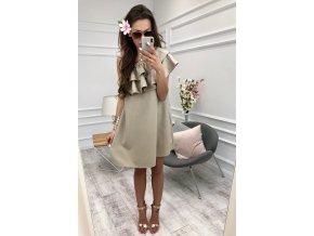 Elegantné šaty cez jedno rameno v béžovej farbe