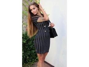 Čierne elegantné prúžkované šaty