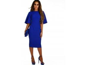 Elegantné šaty pod kolená v kráľovskej modrej