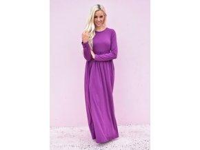 Fialové šaty s dlhým rukávom