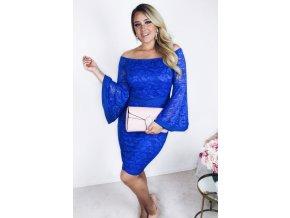 Modré čipkované šaty so širokými rukávmi