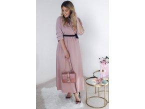 Dlhé svetlo-ružové šaty s čiernou stuhou