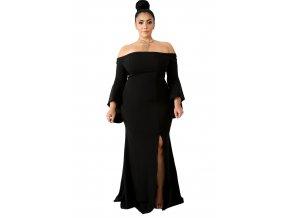 Dlhé čierne šaty s odhalenými ramenami