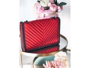 Červená prešívaná kabelka Rosalie