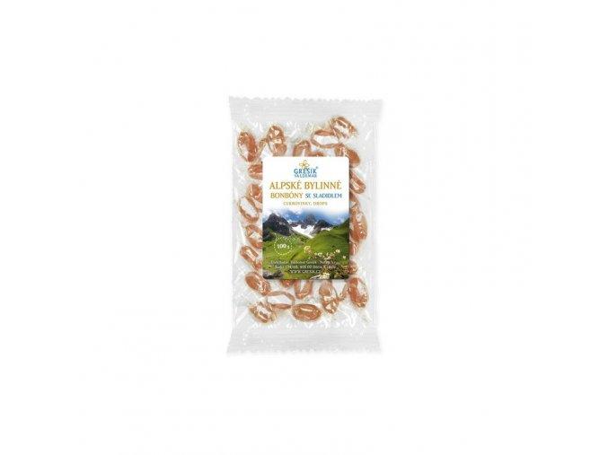 Grešík Alpské bylinné bonbóny se sladidlem 100 g