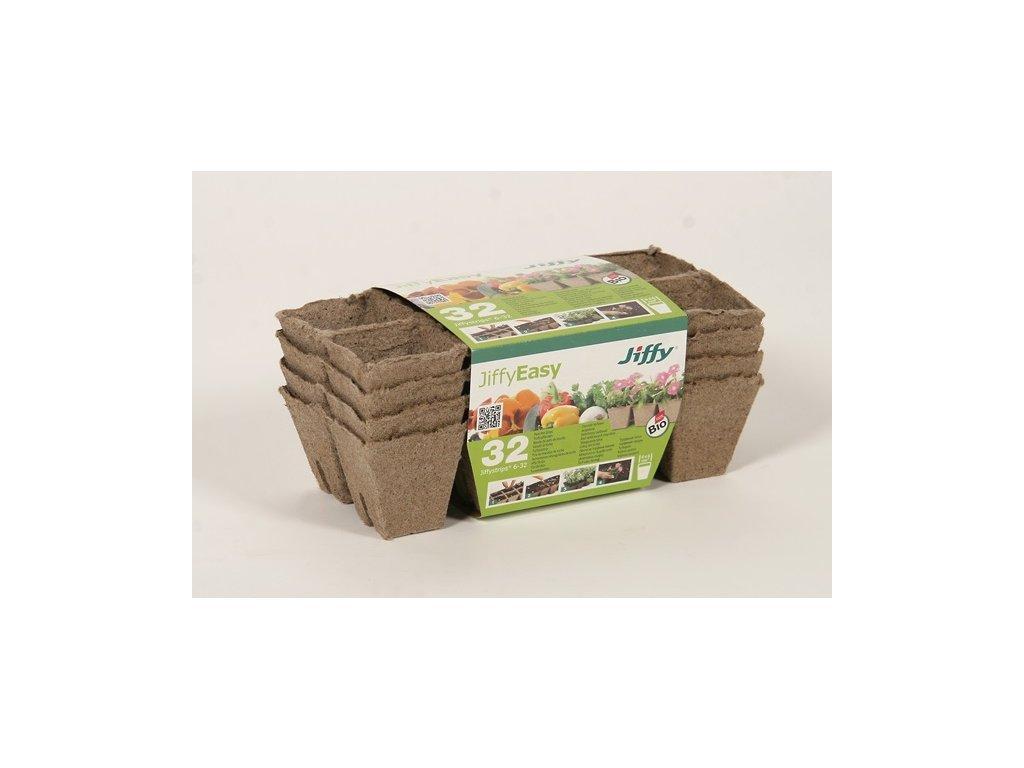 Jiffystrips® 6-32, rašelinový kontejner 8 čtvercových květináčů 5 x 6cm, 4 plata v balení