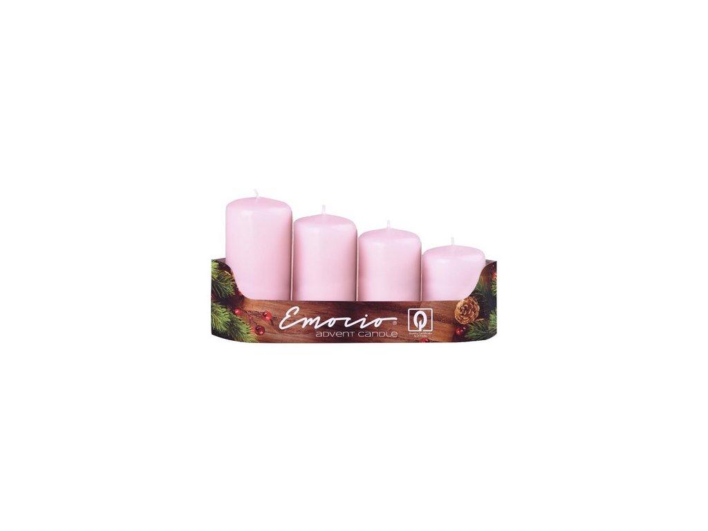 Emocio adventní stupně 4ks prům.40mm růžové svíčky