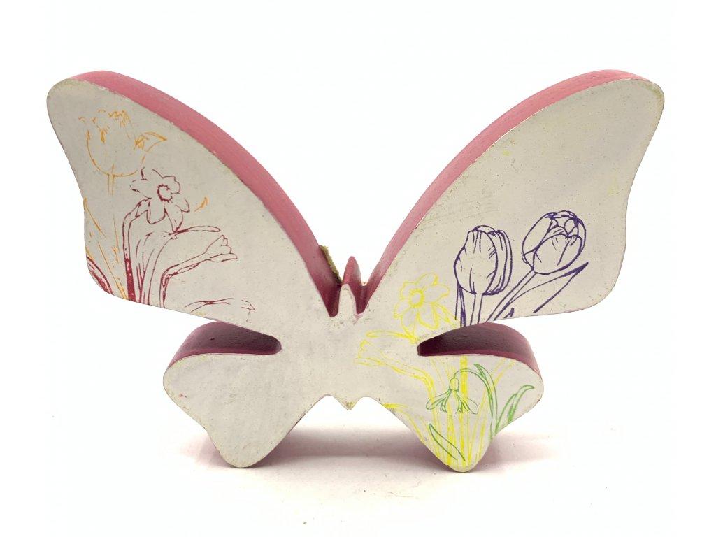 dřev motýl fial obručka 14kč 30ks