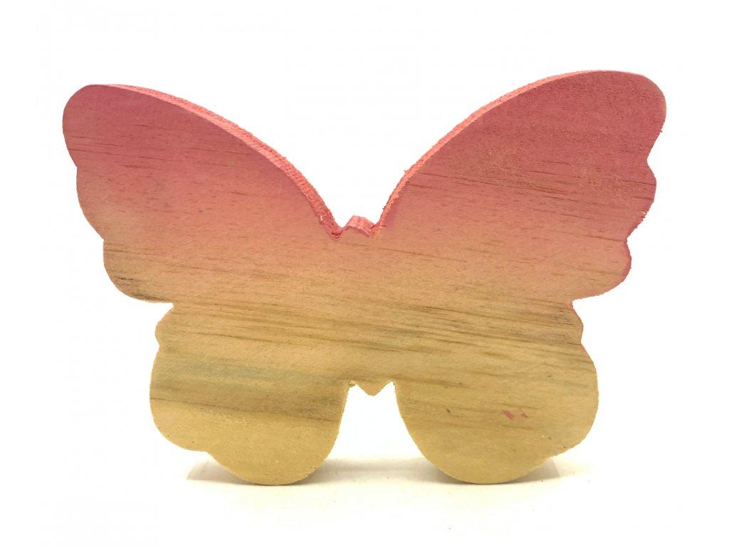 dřevěn motýl oranž 39 kč, 1ks