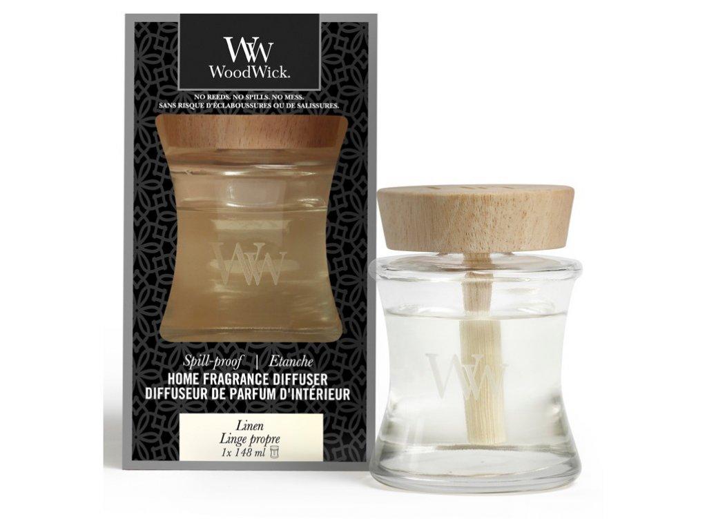 Woodwick Aroma difuzér s víčkem proti vylití Linen