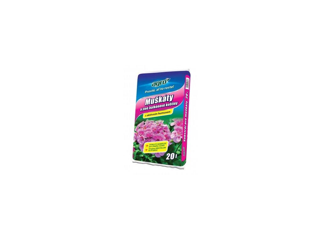 AGRO Substrát pro muškáty a jiné balkónové květiny 20 L