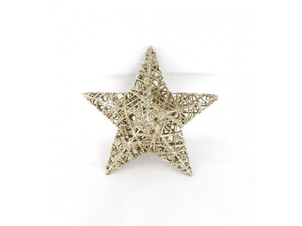 Vánoční hvězda zlatá 0003