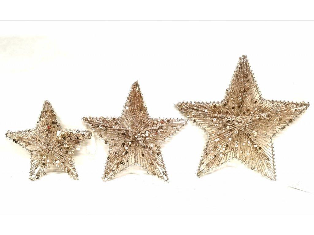 Vánoční závěsná hvězda zlatá - Více velikostí! 0036