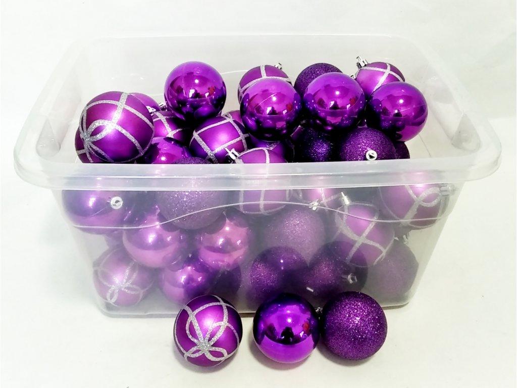 Vánoční ozdoby fialové 57ks 0244