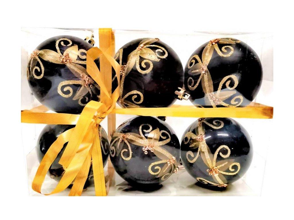 KP0385 Vánoční ozdoby černé se zlatým dekorem 6ks