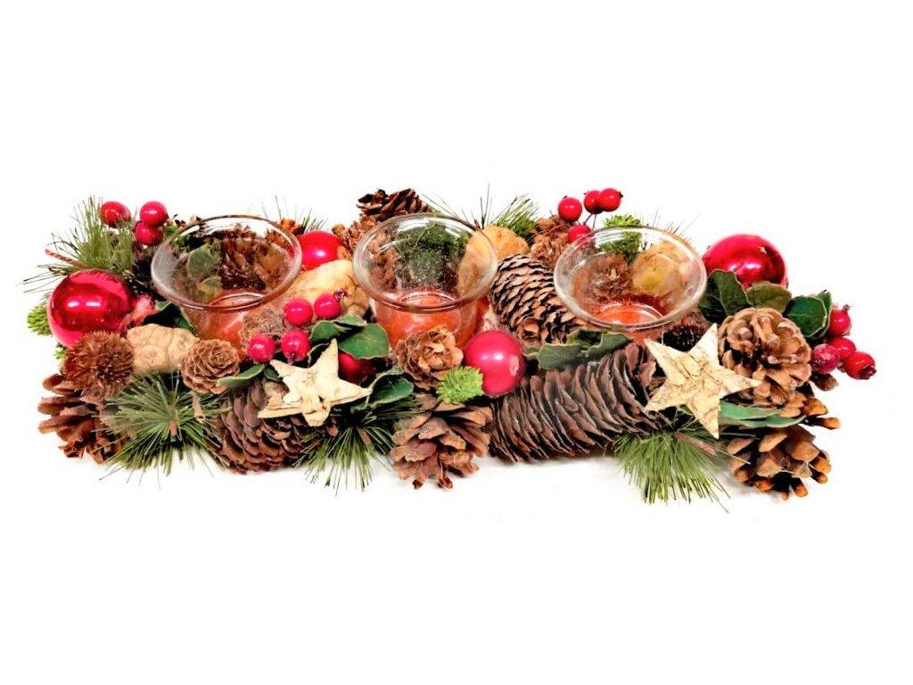KP0396 Vánoční svícen s červenými ozdobami a šiškami