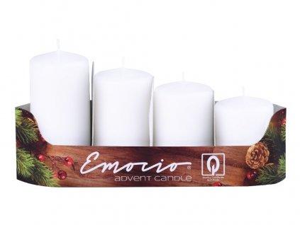 Emocio adventní stupně 4ks prům.40mm bílé svíčky