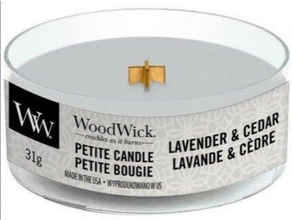 Woodwick Lavender & Cedar svíčka Petite