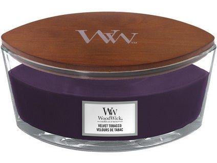 WoodWick Velvet Tobacco svíčka loď