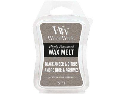 WoodWick Black Amber & Citrus vonný vosk