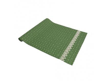 modrotisk běhoun zelený+krajka