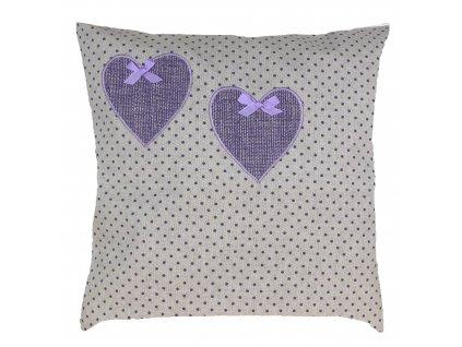 polštář lila puntík+srdce