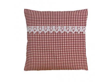 rené polštář povlak červený+krajka
