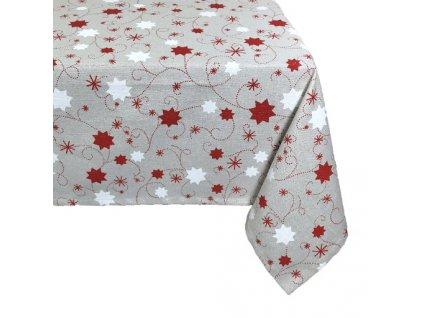 ubrus vánoce hvězda lurex červená