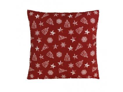 polštář povlak vánoce nadílka červená