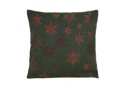 polštář povlak vánoce vločka hrubá zelená