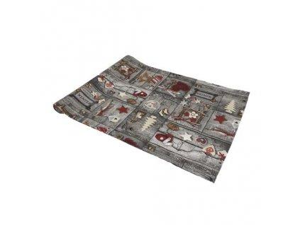běhoun vánoce patchwork tisk