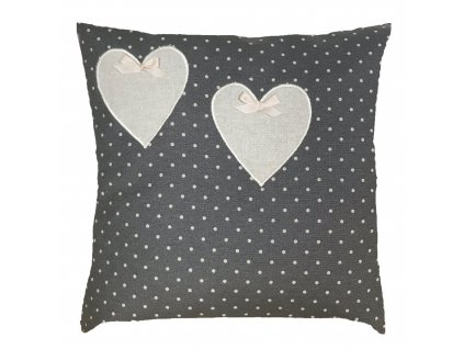 polštář puntos šedý+srdce