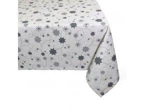 ubrus vánoce hvězda lurex šedá
