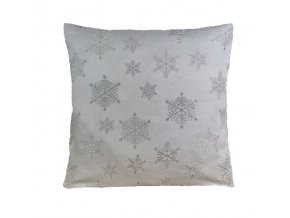 polštář povlak vánoce vločka hrubá stříbrná