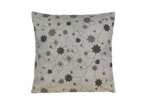 polštář povlak vánoce hvězda lurex šedá
