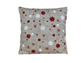 polštář povlak vánoce hvězda lurex červená