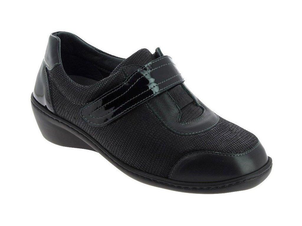 SIMONA PRESTIGE zdravotní dámská polobotka pro široké nohy a kladívkové prsty černá PodoWell