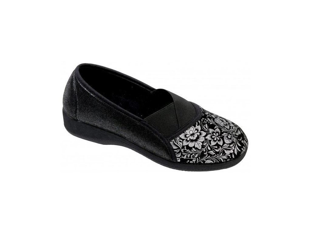 GOJI elastická obuv dámská černá se stříbrným potiskem O6968 F48 Nursing Care 3
