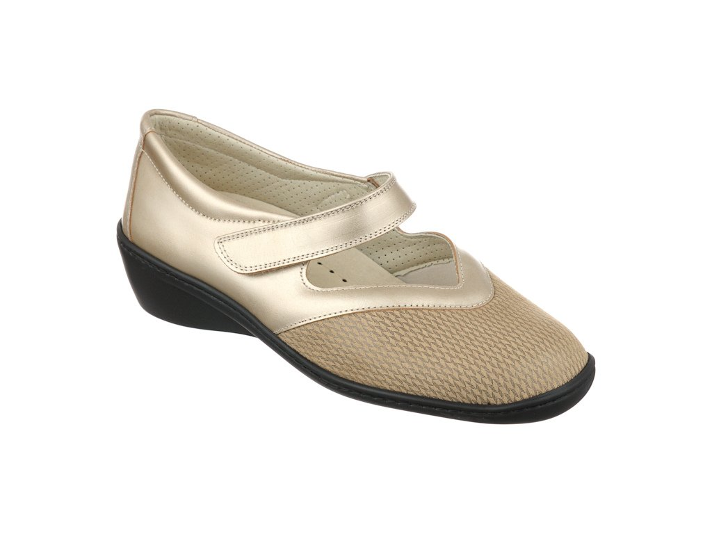 SONIA strečová dámská obuv pro halluxe a kladívkové prsty zlatavá PodoWellÁ
