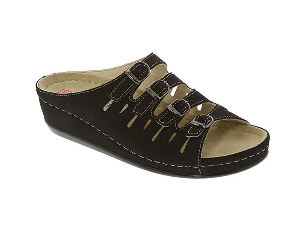 HASSEL 00737 015 zdravotní pantofle dámská černá mikronubuk Berkemann 1