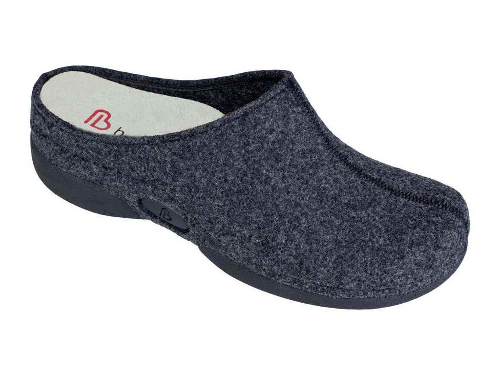 LAUREN domácí filcová obuv dámská tmavě šedá Berkemann
