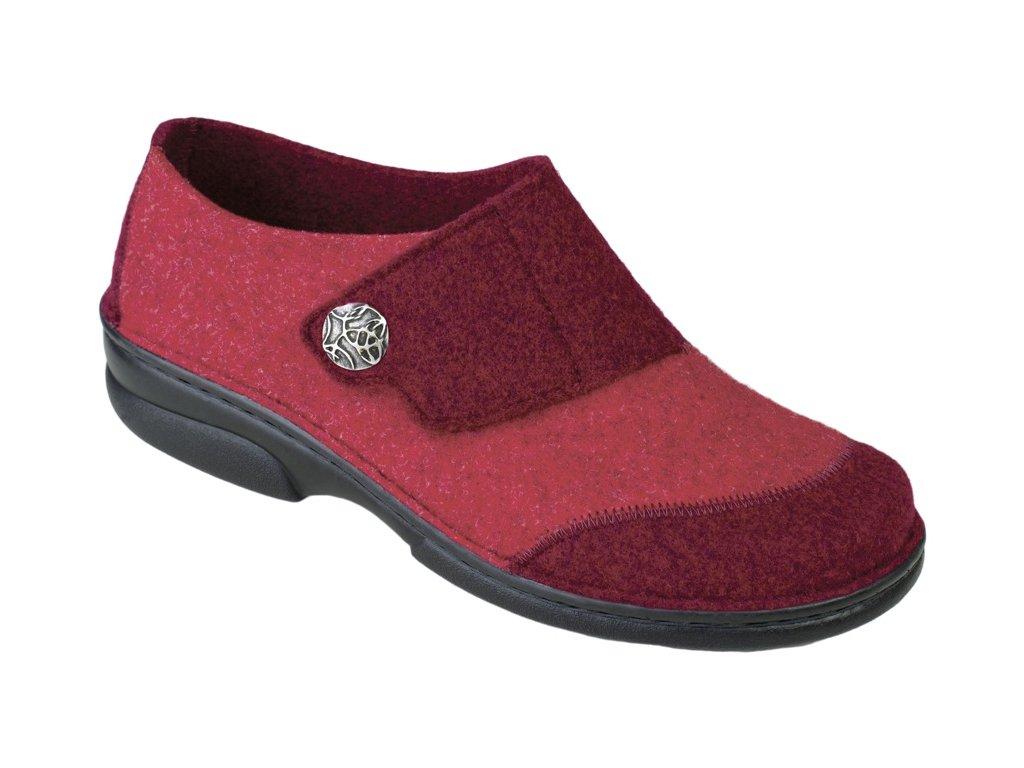 JARLA domácí filcová obuv dámská červená Berkemann