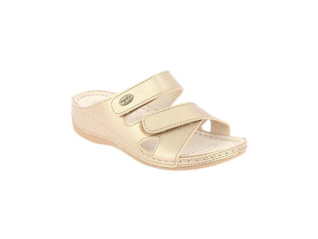 FELICIA zdravotní pantofle dámské zlatavé PodoWell 1