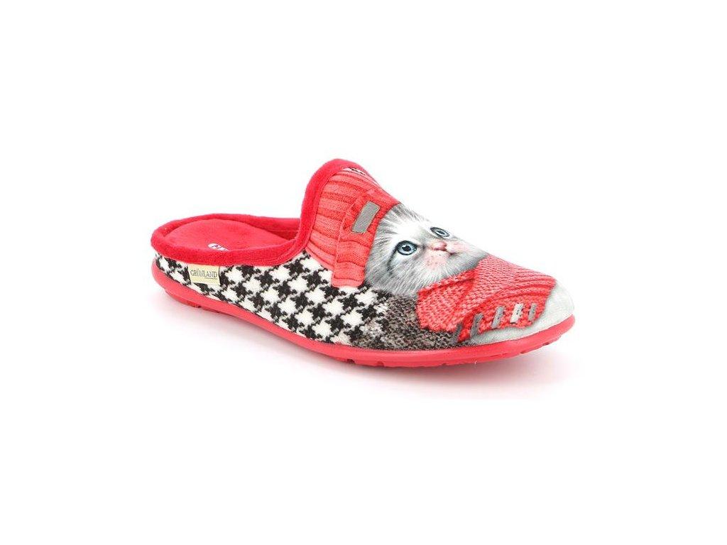 FAYE CI2780 dámská domácí pantofle červená koťátko Grunland zdravotní 1(1)
