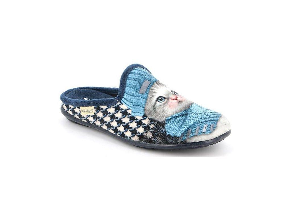 FAYE CI2780 domácí pantofle modrá koťátko Grunland 5