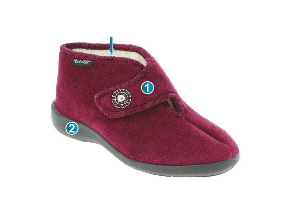 CALIOPE domácí teplá obuv bordová Podowell